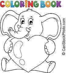 éléphant, tenue, coeur, livre coloration