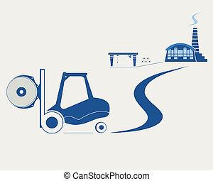 élévateur, papier, transport, rouleau