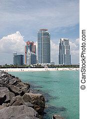 élévation élevée, plage, sud, condominiums