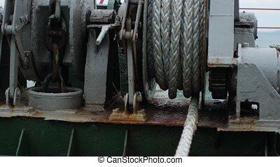 élévation, bobine, bateau, corde, ancre