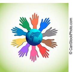 élévation, coloré, mains