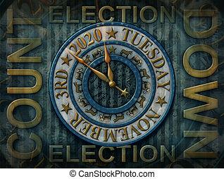 élection, 2020, compte rebours, illustration, 3d, horloge, -