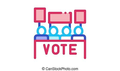 élection, icône, animation