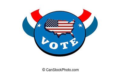 élection, main, américain, vote
