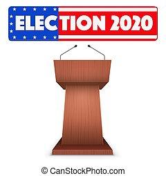 élection, symbole, tribune, podium, usa, 2020