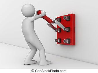 électricien, business, -, collection, commutateur, couteau