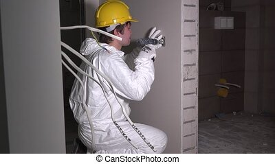 électricien, douille, câble, mur, lumière, ouvrier, commutateur, sortie, installation