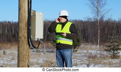 électricien, inspecter, lignes, électrique