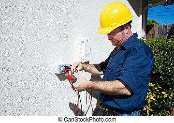électricien, mesures, tension