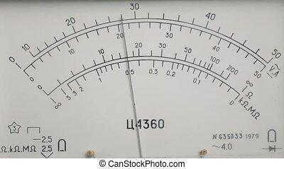 électricien, meter., voltmètre, matériel de bureau, utilisation, vérification, électrique, tension