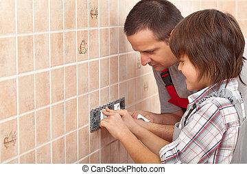 électricien, père, fils, comment, électrique, installer, enseignement, douilles