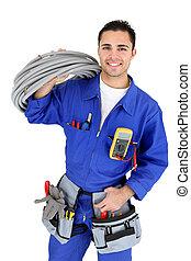 électricien, tenu, câblage