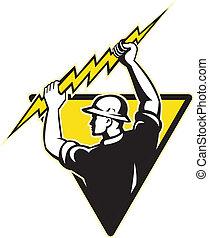 électricien, tenue, puissance, éclairage, ouvrier ligne, boulon