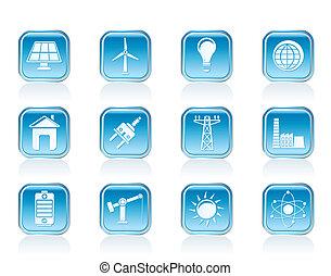 électricité, énergie, puissance, icônes