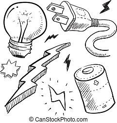 électricité, croquis, objets