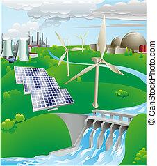électricité, génération, puissance, illustration