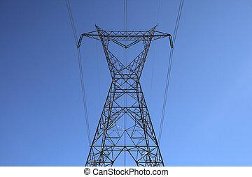 électricité, grand sommet, pylône