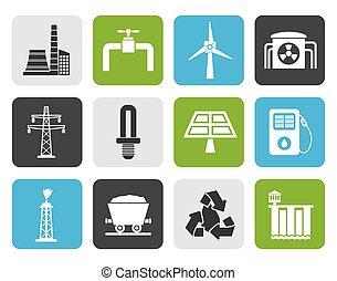 électricité, industrie, icônes