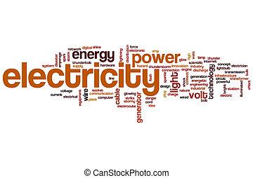 électricité, mot, nuage