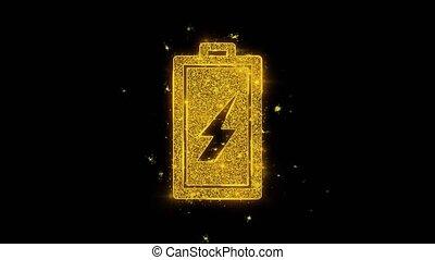 électricité, noir, arrière-plan., batterie, icône, particules, étincelles