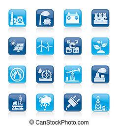 électricité, source, énergie, icônes
