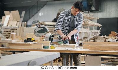 électrique, charpentier, machine, beau, polissage, morceau, bois construction