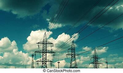 électrique, ciel, contre, haute tension, pylône