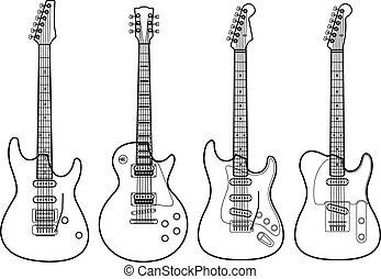 électrique, isolé, silhouettes, vecteur, guitares, blanc