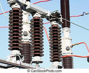 électrique, station, insulators, a haute tension, puissance
