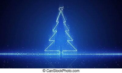 électrique, techno arbre, noël, vague