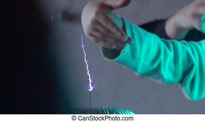 électrique, vagues, éclair