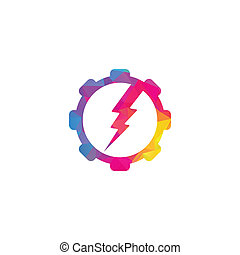 électrique, vecteur, gabarit, logo, engrenage