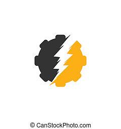 électrique, vecteur, illustration., gabarit, logo, engrenage