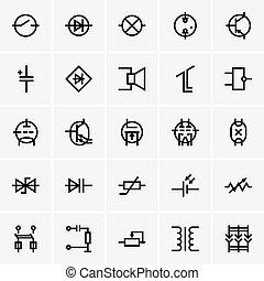électronique, composants, icônes