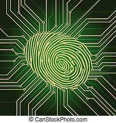 électronique, empreinte doigt