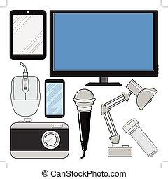 électronique, ensemble, consommateur