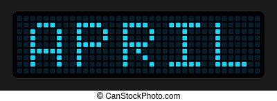 électronique, nom, mois, cellules, tableau, april.