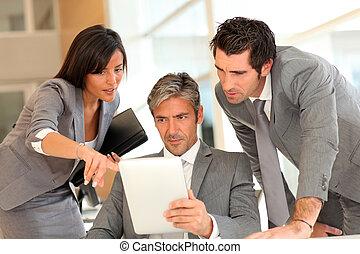 électronique, réunion, business, tablette