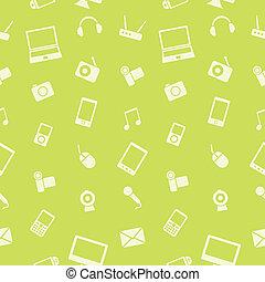 électronique, vecteur, pattern., gadget, seamless