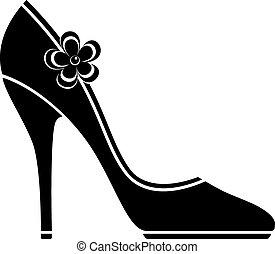 élevé, chaussures, talon, (silhouette)