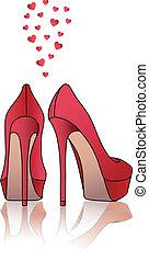 élevé, chaussures, vecteur, rouges, talon