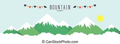 élevé, couvert, montagnes, snow.