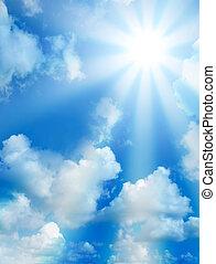 élevé, ensoleillé, nuages, qualité, ciel