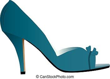 élevé, femme, armé, chaussure