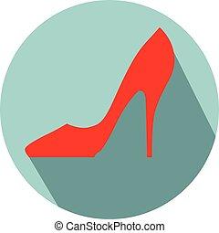 élevé, femme, chaussures, talon
