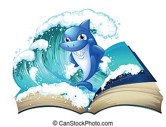 élevé, grand, requin, livre, vague
