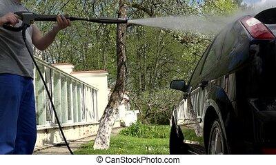 élevé, lavage, jet, service, pression eau, voiture., professionnel, homme