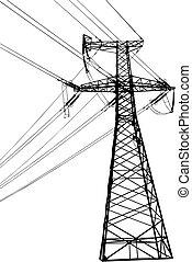 élevé, ligne, tension, électrique