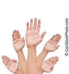 élevé, mains, augmentation, haut