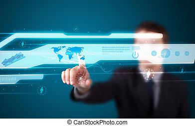 élevé, moderne, boutons, urgent, technologie, homme affaires, type